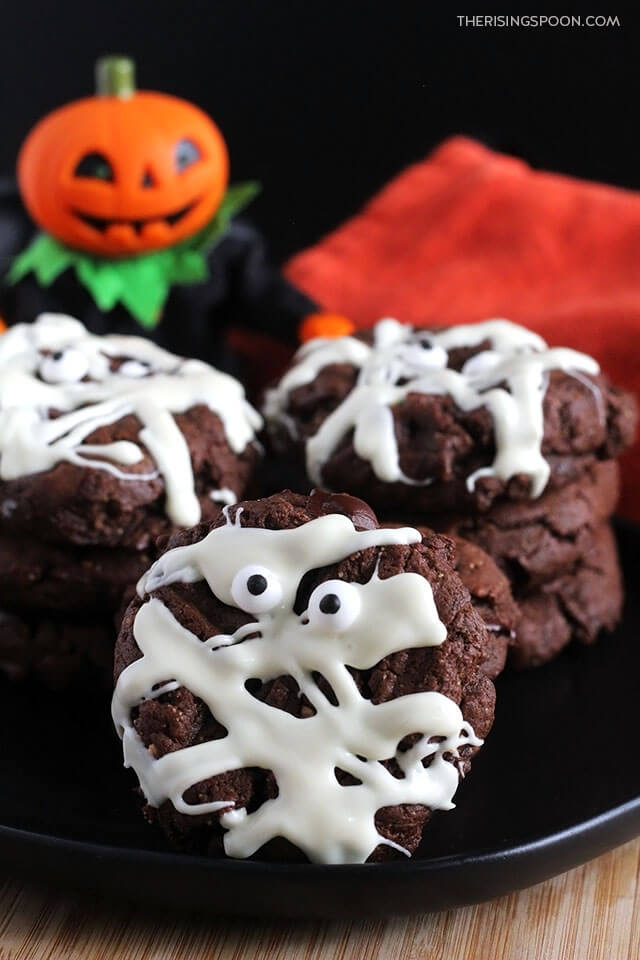 Double Chocolate Peanut Butter Mummy Cookies For Halloween