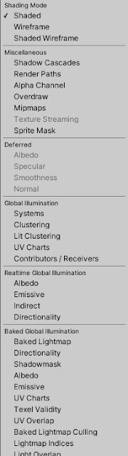 draw mode menu in unity editor