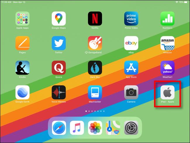 iPad مع اختصار ويب على الشاشة الرئيسية