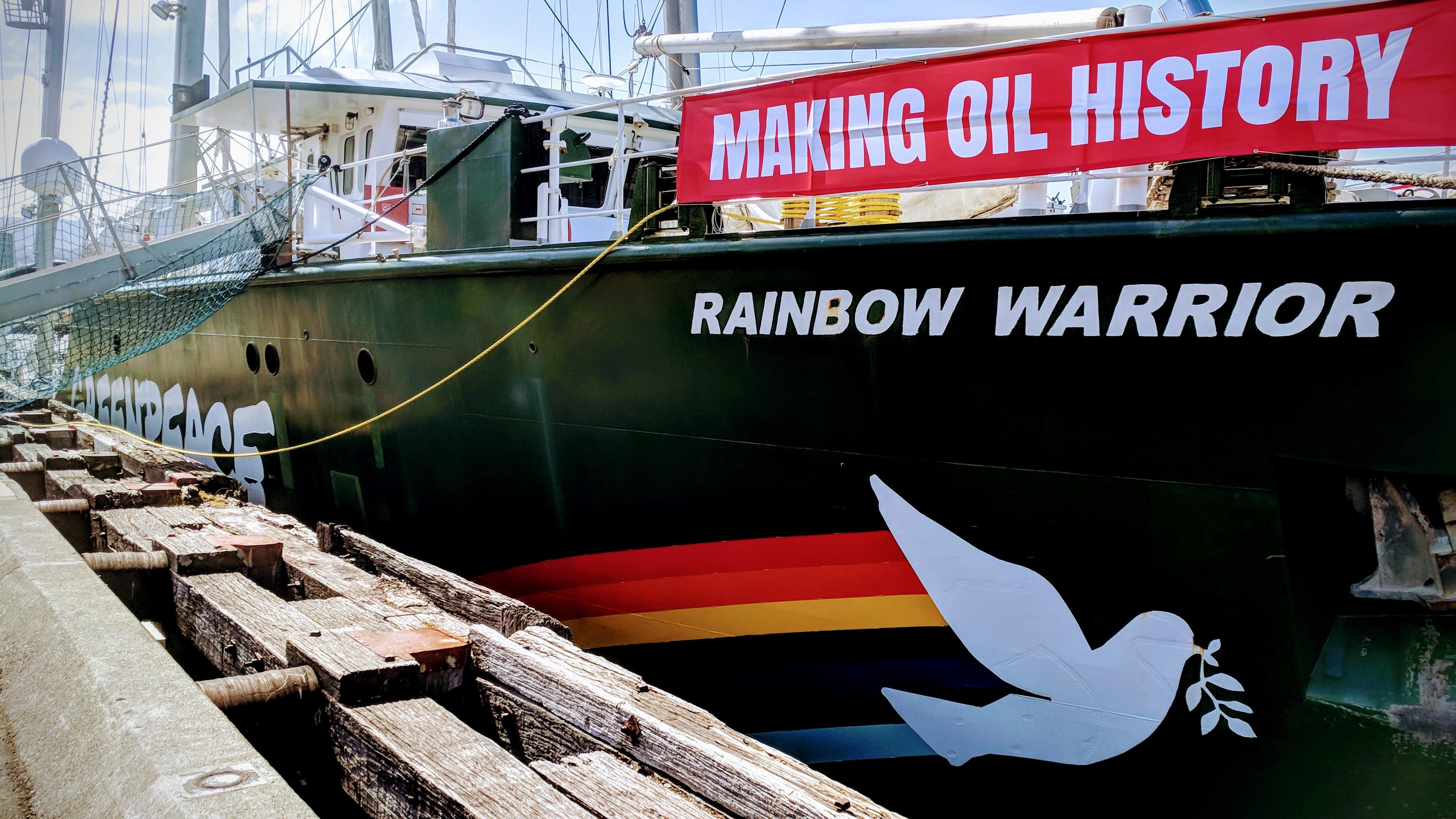 Rainbow Warrior III berthed at Wellington Harbour