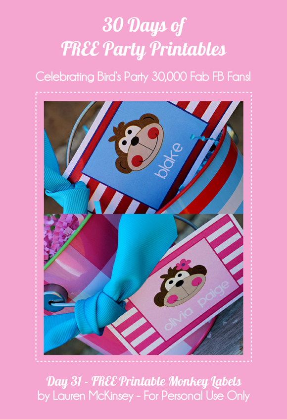 Free Party Printables Monkey Themed Party Tags  - via BirdsParty.com