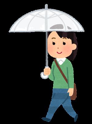 傘をさして歩く人のイラスト(女性)