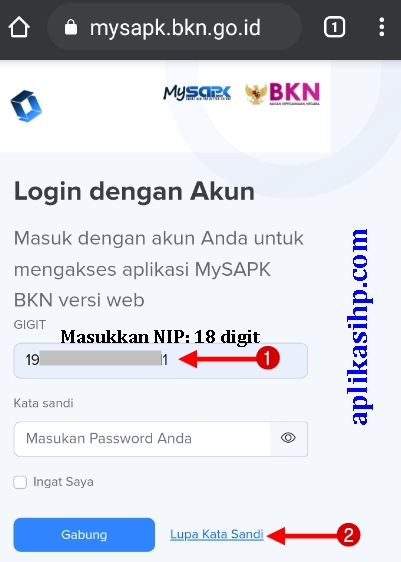 Masukkan NIP 18 digit dan klik lupa kata sandi