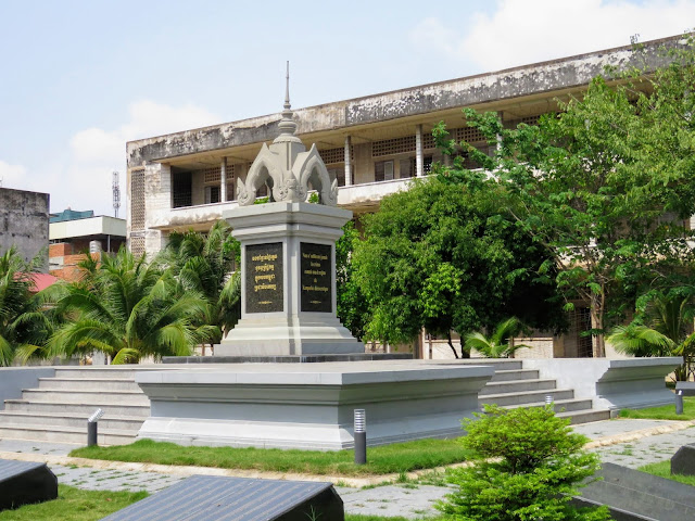 Memorial monument at Tuol Sleng Genocide Museum in Phnom Penh Cambodia