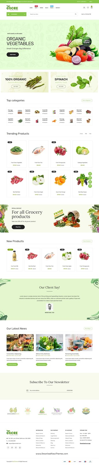 Best Grocery and Organic Food Shop Website Theme