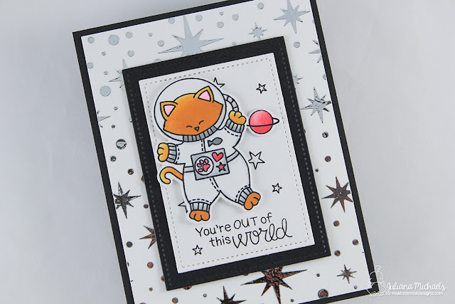 Foiled Background using Therm O Web Deco Foil Transfer Gel and Newton's Nook Designs Starfield Stencil. Card by Juliana Michaels