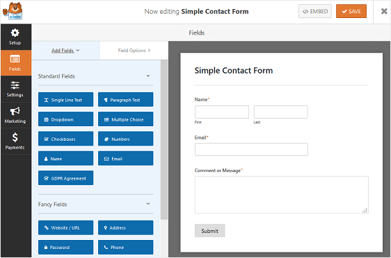 spam free contact forms