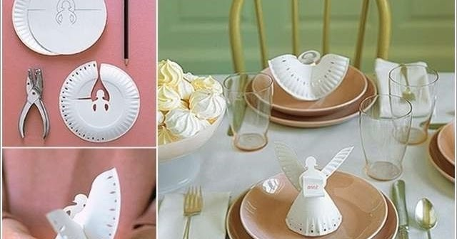 Diy Christmas table decoration Angel made from paper plate