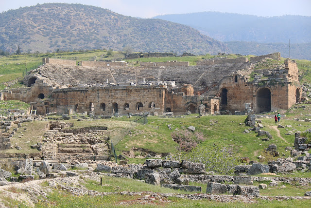 The remainings of the theatre at Hierapolis in Pamukkale, Turkey