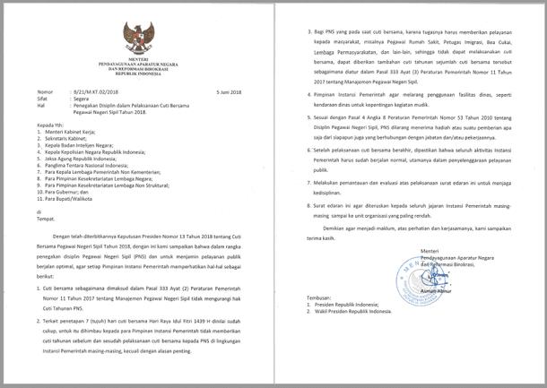 Surat Menteri PANRB tentang Penegakan Disiplin dalam Pelaksanaan Cuti Bersama Pegawai Negeri Sipil Tahun 2018