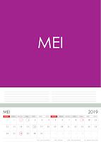 Simple Desain Kalender 2019 Indonesia bulan Mei beserta Hari Libur Nasional