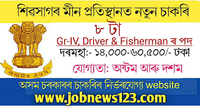 Superintendent of Fisheries, Traning Institute Joysagar Recruitment 2021: