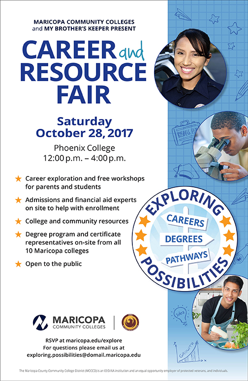 Poster for career fair.  Text in blog.  Images of young career professionals in law enforcement and STEM fields and culinary programs