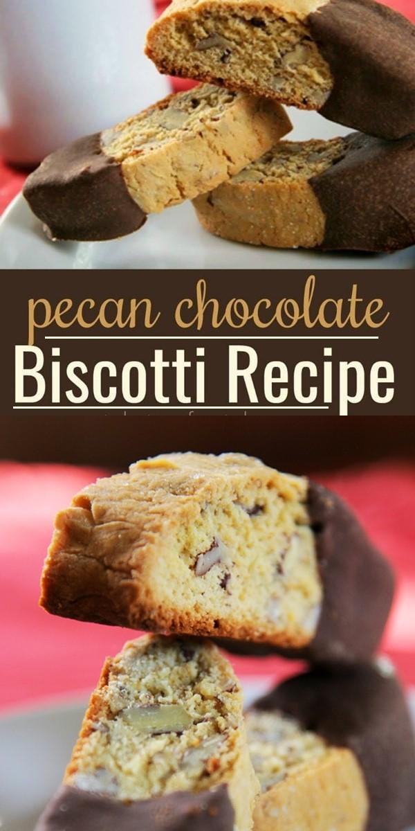 Pecan Chocolate Biscotti #Cookiesrecipes