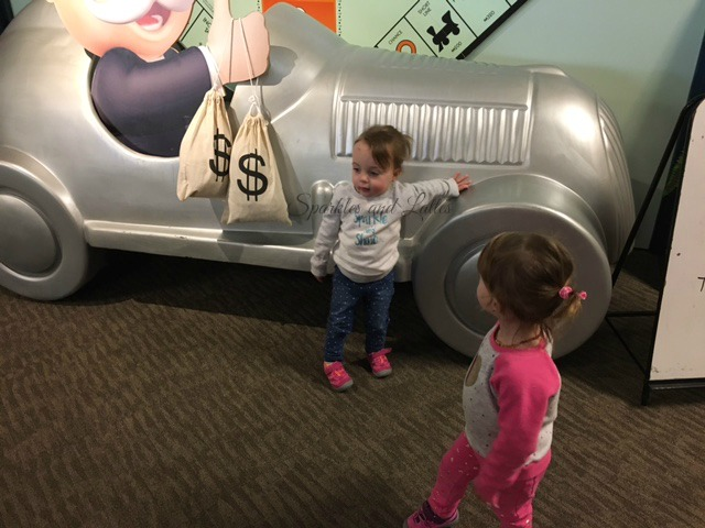 toddlers by the Monopoly exhibit