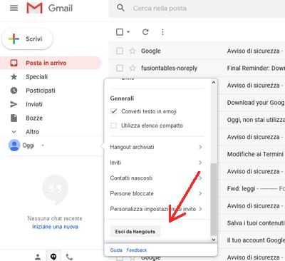 Come disattivare Hangouts da gmail