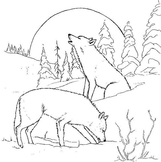 Tranh tô màu hai con chó sói đang hú