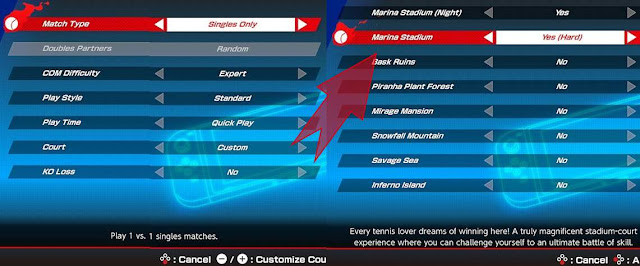 Mario Tennis Aces North American Open July 2020 ruleset settings