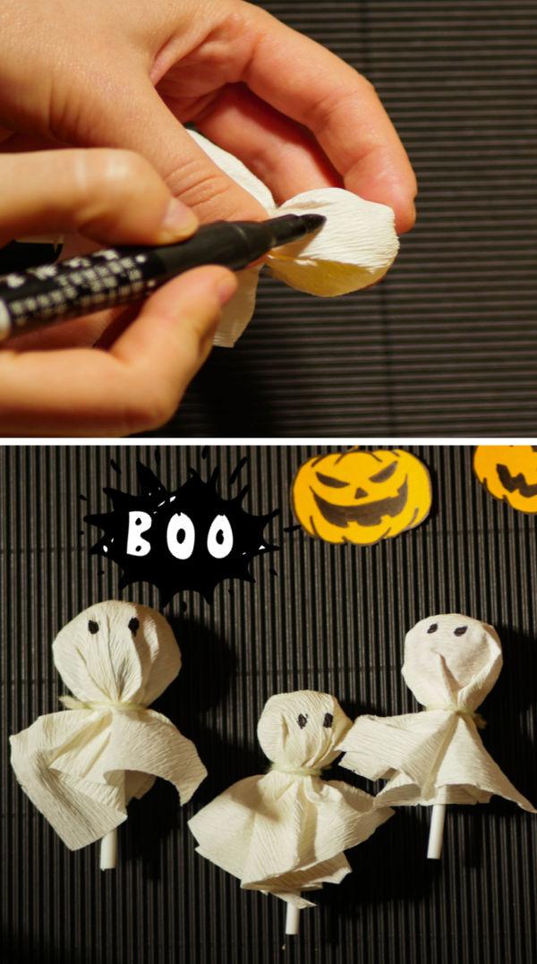 Ghost lollipops Halloween treats for kids #halloween #ghostlollipopshalloween #halloweentreats #halloweenpartyideas #growingajeweledrose #activitiesforkids