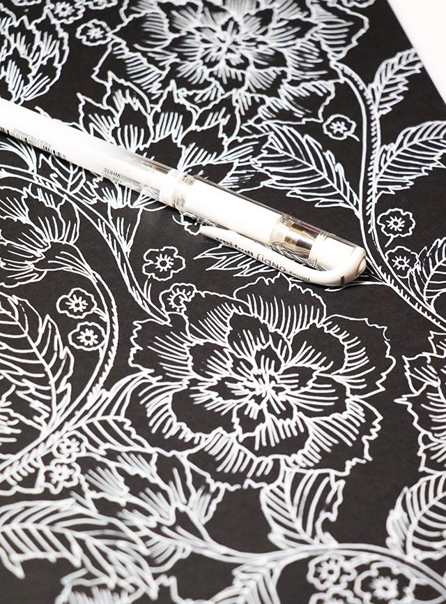 drawing in a black sketchbook