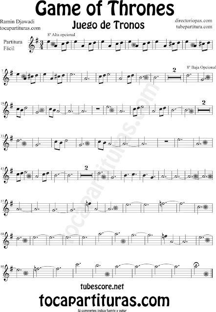 Partitura de Juego de Tronos para Saxofón Alto y Sax Barítono by Game of Thrones Sheet Music for Alto and Baritone Saxophone by Ramin Djawadi Music Scores