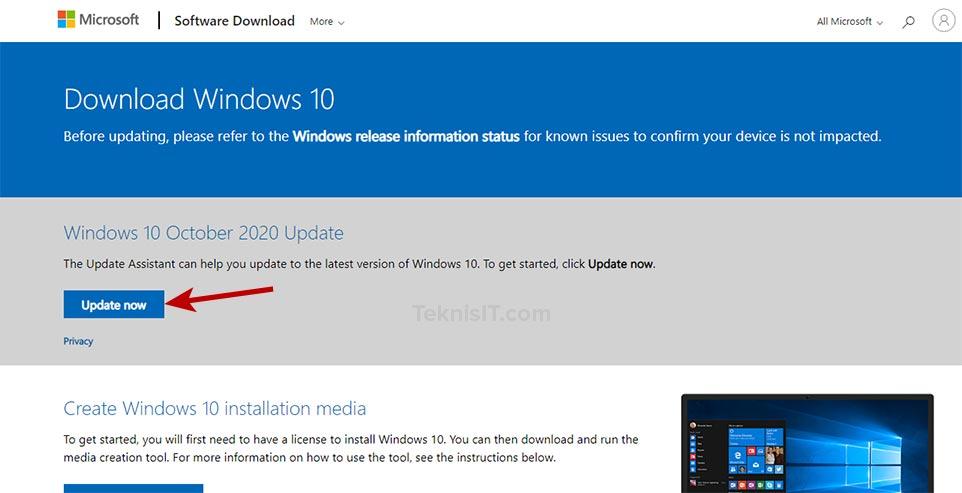 cara update windows 10 dengan update