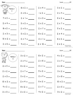 Free Multiplication Fact Drills X2