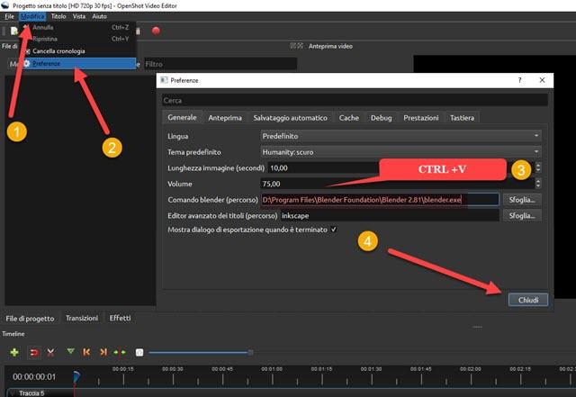 collegare il file exe di blender a openshot