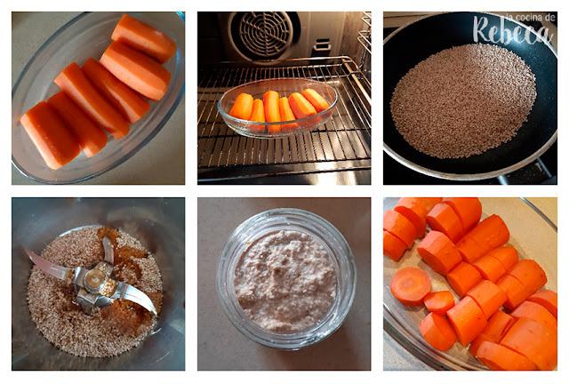 Receta de hummus de zanahoria: asado de las zanahorias y elaboración del tahini