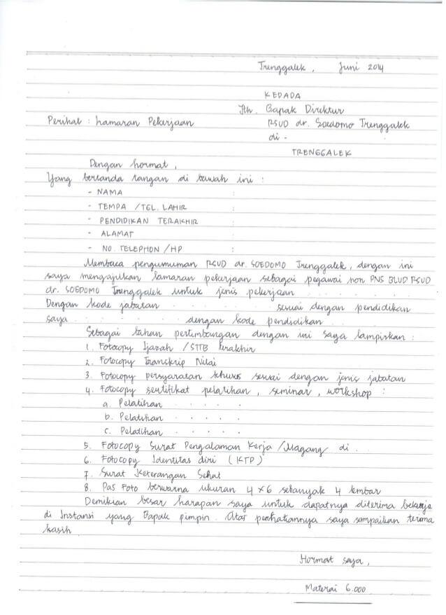 Contoh Surat Lamaran Kerja Cleaning Service Tulis Tangan