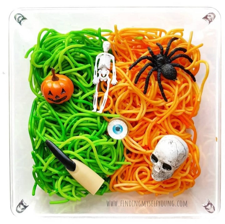 spooky spaghetti halloween invitation to play for kids