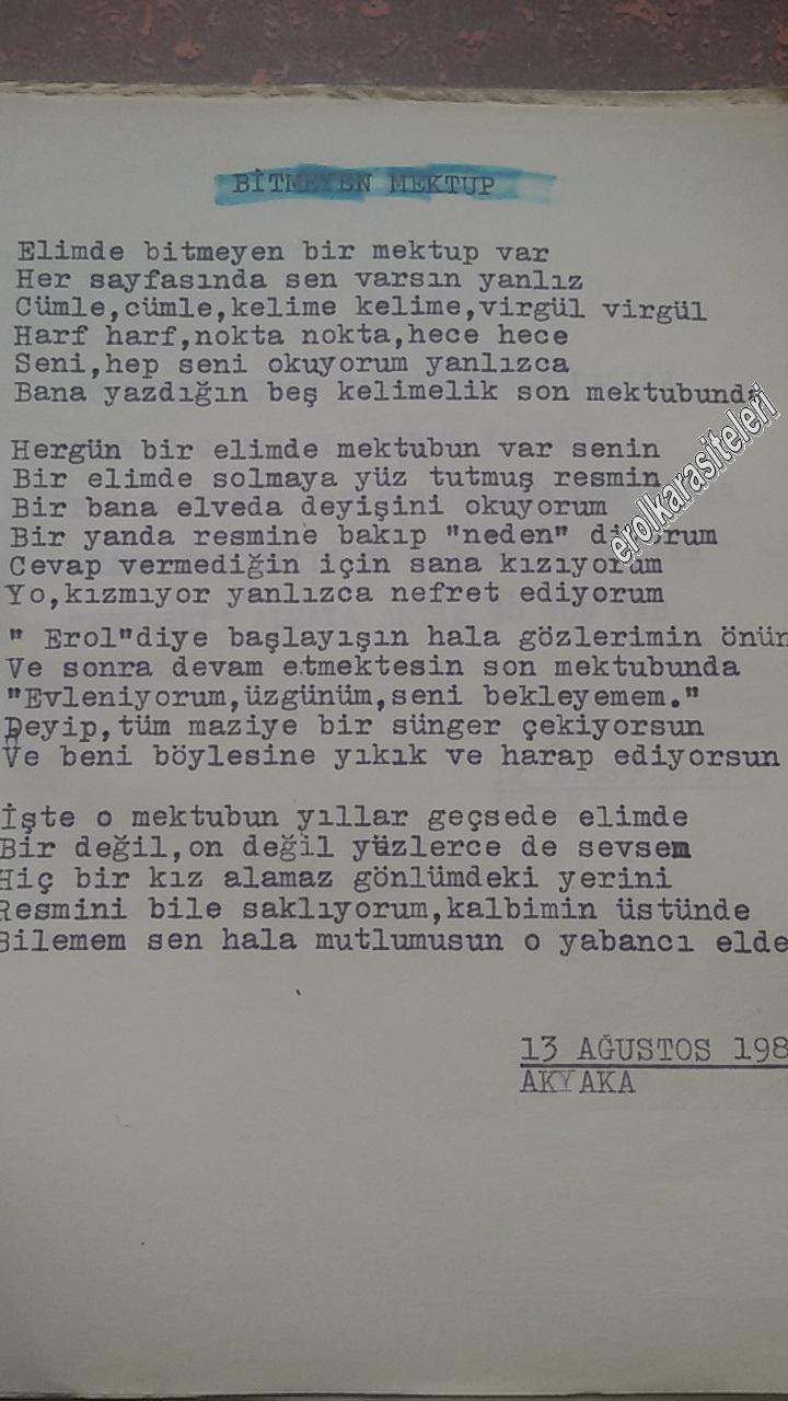 Asker Şiirleri - Bitmeyen Mektup