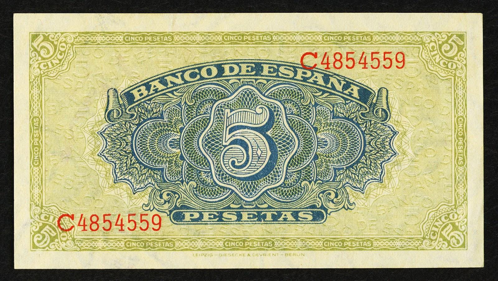 Spain money currency 5 Pesetas banknote 1940