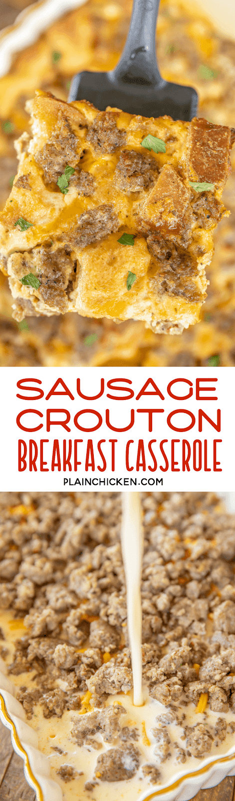 collage of two photos of sausage breakfast casserole