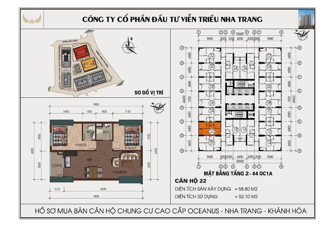 Sơ đồ căn hộ số 22 tòa OC1A Viễn Triều Nha Trang