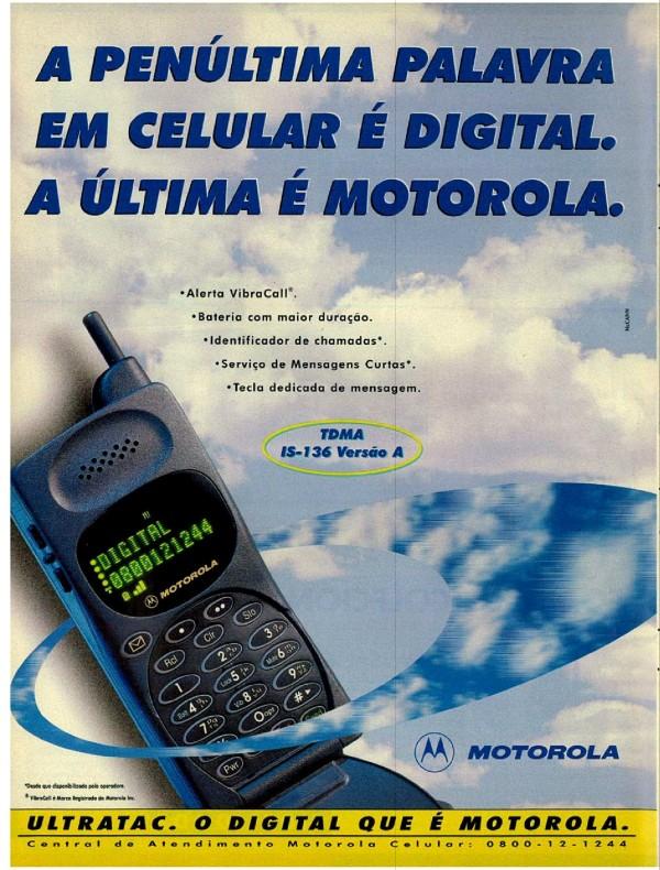 Anúncio da Motorola apresentando seu modelo de celular digital em 1998