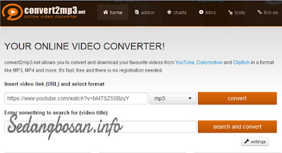 "Paste url Atau Alamat Video di Kolom Video Link (URL), Pastikan File Sudah ""format mp3"""