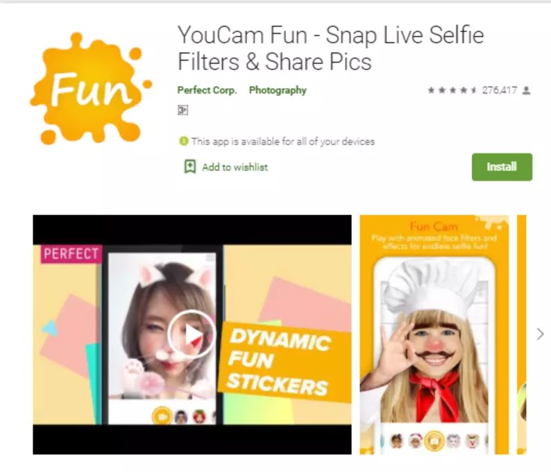 YouCam Fun - Snap Live Selfie Filters and Share Pictures