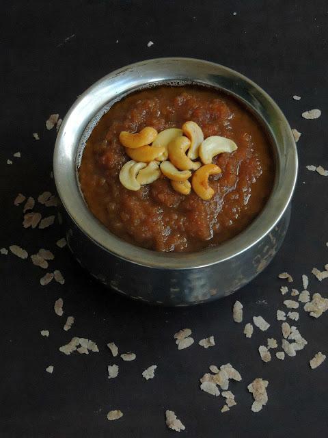 Redrice flakes Sweet pongal, Aval Thengai Sakkarai pongal