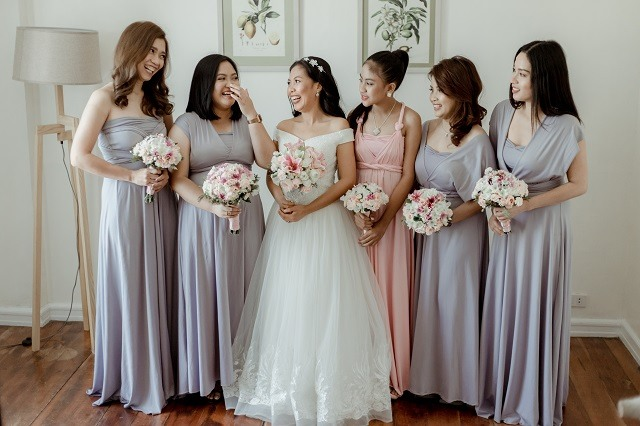 bride and bride squad in their infinity dresses