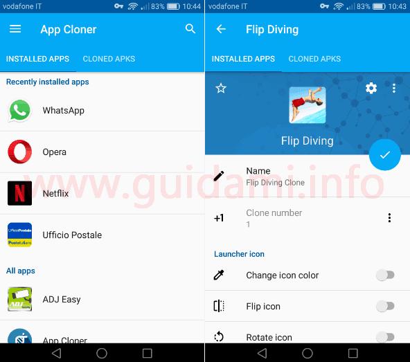 Android App Cloner schermate seleziona e modifica app da clonare