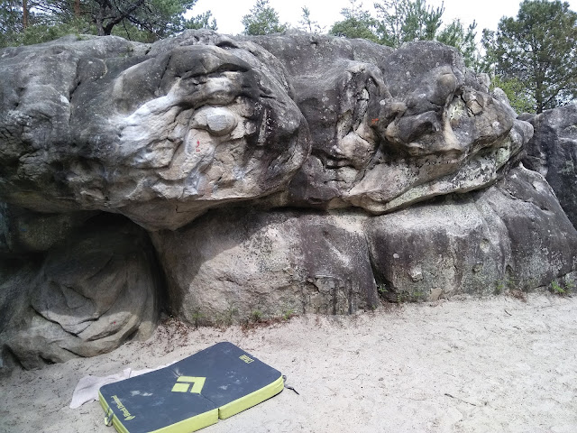 Boulder problem number 26 at sector Cul de Chien in Fontainebleau