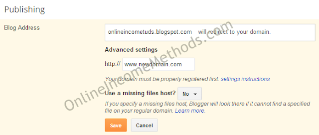 Custom Domain Setup Settings for Blogger
