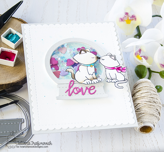 Kitty Love shaker card by Tatiana Trafimovich | Newton's Christmas Cuddles Stamp set and Snow Globe Shaker Die Set by Newton's Nook Designs #newtonsnook #handmade