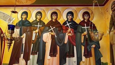 Πέντε Παρθένες, επισκοπείο Ρεθύμνου, έργο π. Νικ. Ρουσάκη και του υιού του Νικολάου