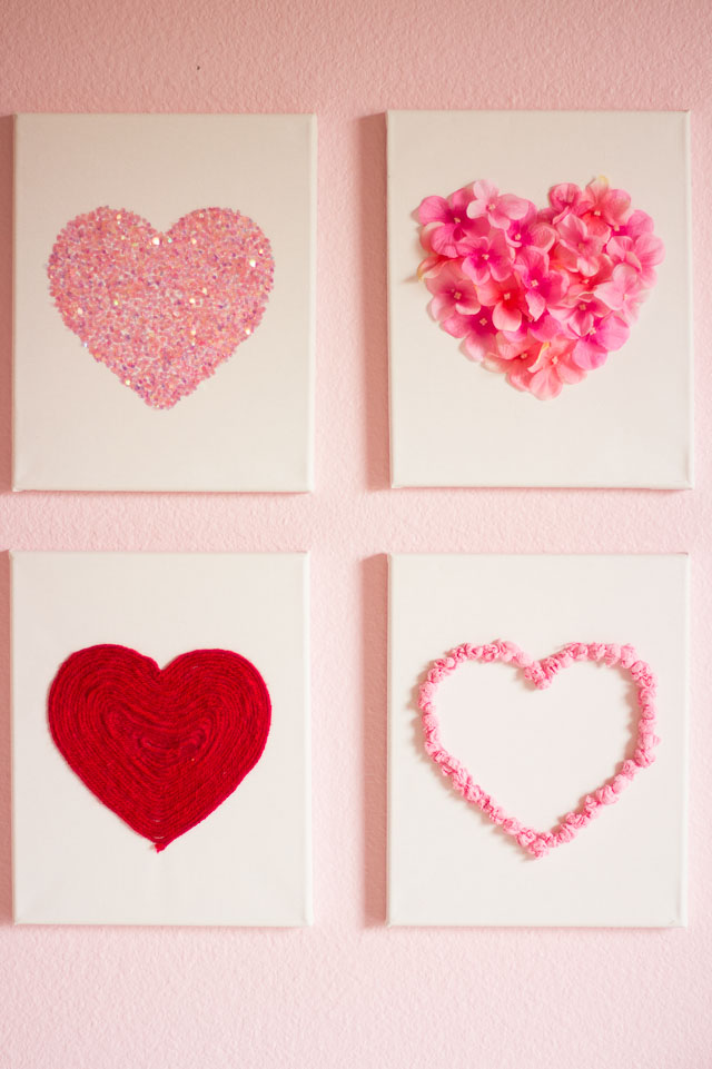 Valentine S Day Diy Canvas Heart Art Design Improvised