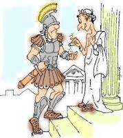 Legionario romano cobrando en sal