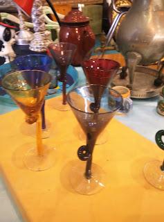 copas de cristal vintage feria de antiguedades de Noja