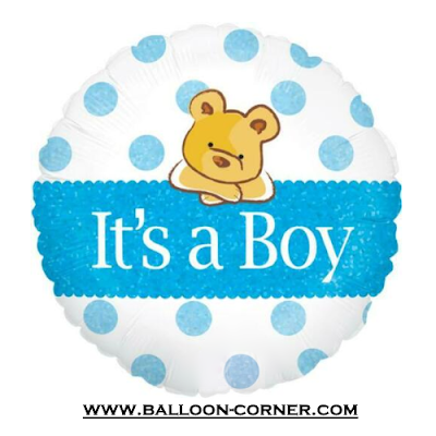 Balon Foil Bulat It's A Boy Bear