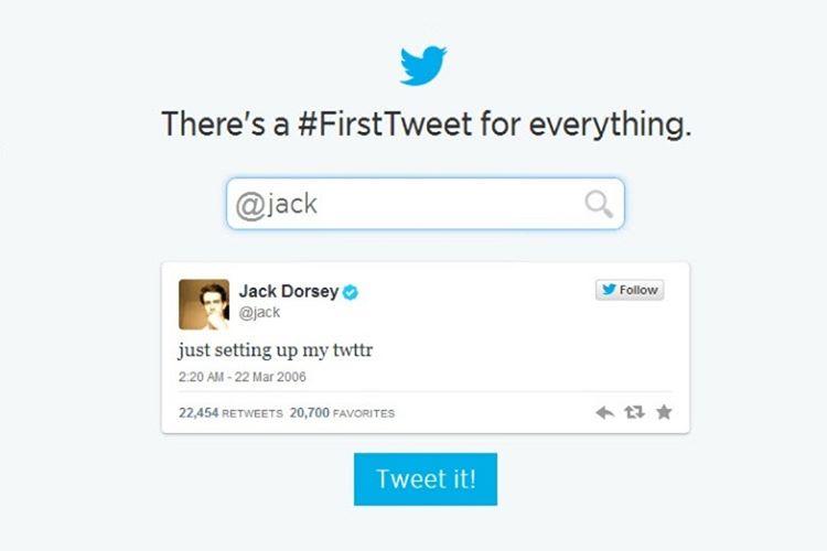 İlk tweet, Twitter'ın yaratıcı beyinlerinden olan Jack Dorsey tarafından 22 Mart 2006'da yazıldı.